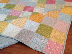 Patchwork Lap or Baby Quilt in Noteworthy  fabrics -- blue, pink, green, grey, white on Etsy, $155.00
