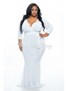 Outlet Plus Size BodyCon Long Faux Wrap Dress with Tie in White 1x 2x 3x