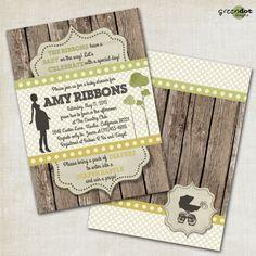 Rustic baby shower invitation, wood, vintage, western, digital, printable, diy, yellow, blue, pink, green, gender neutral