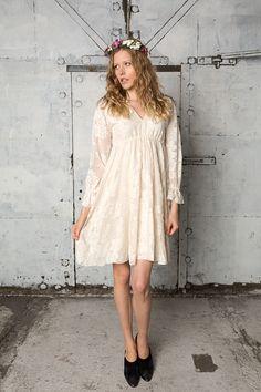Long sleeved v-neck bohemian lace dress, Lucinda by IndiebrideLondon on Etsy https://www.etsy.com/listing/249716589/long-sleeved-v-neck-bohemian-lace-dress