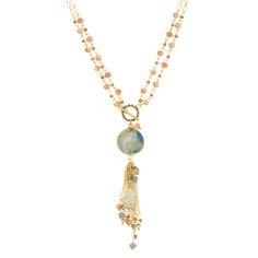 Wholesale gold toggle necklace topaz czech beads round blue stone beaded tassel