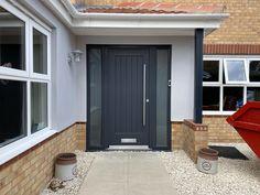 Composite Front Door Grey, Grey Front Doors, Front Door Porch, House Front, Anthracite Grey Windows, Fromt Doors, Garage Extension, Number 50, Bungalow Renovation