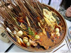 Chengdu teahouse snacks. Authentic Chinese local foods and snacks. Szechuan food heaven