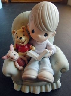 Disney Precious Moments Boy in Chair Reading Book to Winnie The Pooh Piglet