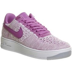 Nike Air Force 1 Low Flyknit W (230 CAD) ❤ liked on Polyvore featuring shoes, fuchsia glow, hers trainers, trainers, patent leather shoes, nike shoes, low profile shoes, low top and fuchsia shoes