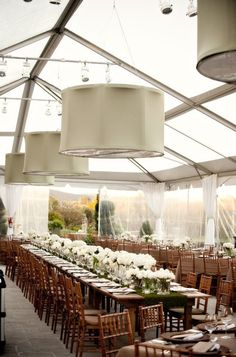 clear tent, long wooden tables. this will deff be a must on my future big day!