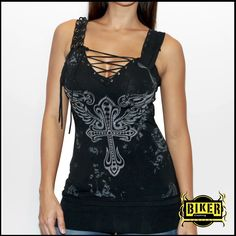 Corset Silver Stone Fashion Tank Top In Black | Biker Clothing | Women's & Men's Motorcycle Apparel | Biker Clothing Company