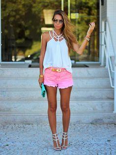 @roressclothes closet ideas #women fashion Pink Denim Shorts