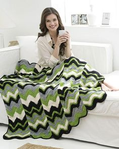 Best Free Crochet » Free Crochet Ripple Strips Throw Pattern From RedHeart.com