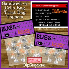 Halloween Bugs & Kisses Sandwich Bag Toppers for Parties and/or Trick or Treat Handouts - Instant Download