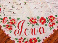 1960s IOWA State Handkerchief with Red Pink by TreasuresPast4U