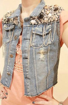 Stylish Faux Pearl and Sequin Embellished Ripped Denim Waistcoat for Women (LIGHT BLUE,ONE SIZE) China Wholesale - Sammydress.com