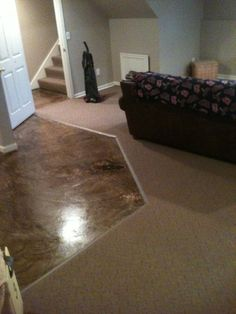 Our Diy Stained Concrete With A Painted Edge The Edge