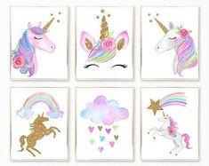 Unicorn Bedroom Decor, Unicorn Rooms, Unicorn Wall Art, Unicorn Decor, Unicorn Poster, The Sims, Nursery Prints, Nursery Art, Unicorn Printables