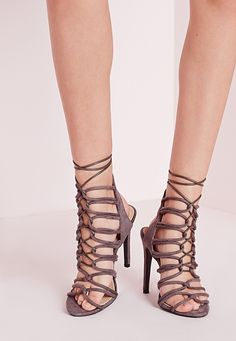 ef2a212182e Missguided - Rope Lace Up Heeled Sandals Grey Heeled Sandals