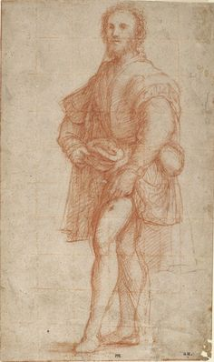 Il Pordenone (Giovanni Antonio de' Sacchis), c.1483-1539, Italian, Standing Saint Roch: Study for the Saint Gothard Altarpiece, c.1525-26.  Red chalk on light tan paper, squared in a lighter tone of red chalk; 26.3 x 15.6 cm.  Princeton University Art Museum, New Jersey.  Mannerism.