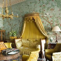 Belvoir Castle. Allyson McDermott's beautiful restoration of the Kings Suite at Belvoir Castle @allysonmcdermottstudio .This style of wall covering grew popular in the late 17th and 18th centuries . The Orient was an unknown, mysterious and exotic culture which people knew little about. Though the use of these wallpapers was not a Chinese tradition, these papers were brought over by the East India Companies.