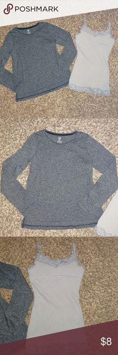 Girls size 8 long sleeve top and tank In great used condition  Long sleeve from H&M  Tank with built in bra from Justice Justice Shirts & Tops