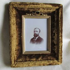 Antique c1880 Victorian Velvet Picture Frame with Bubble Glass by GildedAgeAntiques on Etsy