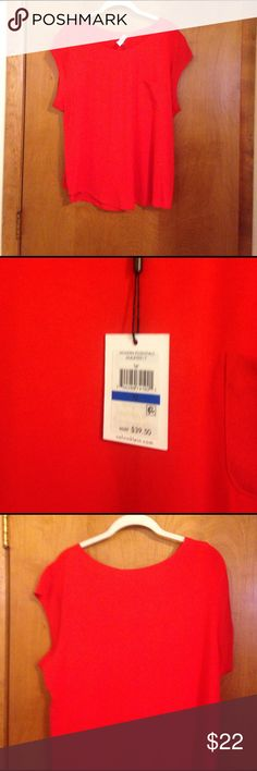Orange Calvin Klein Shirt Orange Calvin Klein Top. Rayon/spandex/polyester blend. Brand new with tags. Bundle and save!! Calvin Klein Tops Tees - Short Sleeve