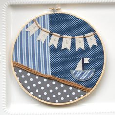 """8 inch hoop art: """"sail away"""" in nautical colors with sailboat and personalized name or word 