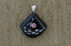 Black agate, black and white feather and genuine blush zircon pendant with sterling silver chain. by GodgivenTalent on Etsy