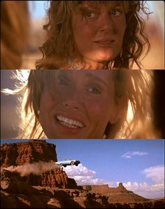•  Thelma & Louise •  [with a cliff in front of them and cops behind them] Thelma: OK, then listen; let's not get caught.  Louise:What're you talkin' about?  Thelma:Let's keep goin'!  Louise:What d'you mean?  Thelma: ...Go.  Thelma:[Thelma nods ahead of them]  Louise:  You sure?  Thelma:  Yeah.   (Perfect conclusion to a perfect film.)