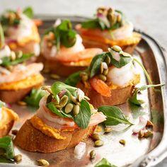 Pumpkin-Shrimp Bruschetta with goat cheese. Yum! More pumpkin recipes: http://www.bhg.com/thanksgiving/recipes/pumpkin-recipes/