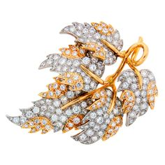 TIFFANY &Co. by SCHLUMBERGER Diamond Platinum & Gold Leaf Brooch | 1stdibs.com
