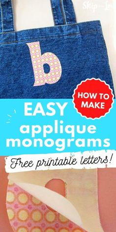 These monogram letters will take your projects up a notch by using them to create beautiful applique. Free printable letters make applique easy! #DIY #Monograms #freeprintableletters Applique Monogram, Monogram Letters, Printable Letters, Machine Applique, Clothing Hacks, Homemade Gifts, Monograms, Sewing Projects, Sewing Ideas