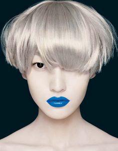 Inspired by - Editorial. Grey-white bowl cut bob. Porcelain skin. Defined eye. Blue lips.