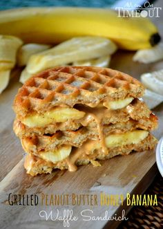 Grilled waffle sandwich with peanut butter and banana