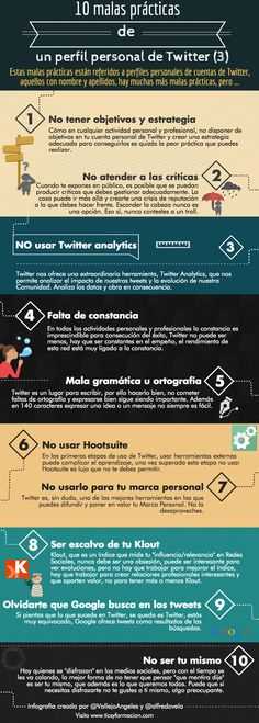 10 malas prácticas de un perfil personal de Twitter (III). Infografía realizada con Piktochart.