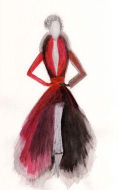 A Dior (Sketch / Fashion Illustration) for Dior Haute Couture