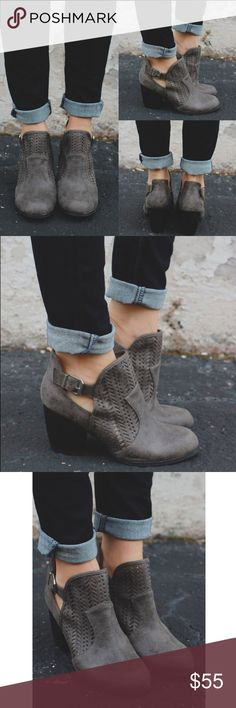 KIRA distressed cut out bootie - GREY Faux leather, cut out, round toe bootie. Breathable, comfy. PRICE FIRM, NO TRADE Bellanblue Shoes Ankle Boots & Booties