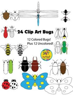This collection of bug clip art contains 2 dozen color-filled and unfilled bugs, this includes a dragonfly, bee, ladybug, stink bug, butterfly, cockroach, ant, caterpillar, grasshopper, stag beetle, fly and a lightning bug. Feedback is greatly appreciated, I hope an outstanding day!