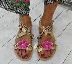 greek sandals beads & pom poms - Google Search