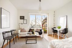 Black and white studio apartment