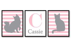 Letter Personalized Name Cat Nursery Art Kitten Prints Set of 3 Prints Pink Grey Gray Stripes Baby Kids Children Girl Room Wall Decor  Include the