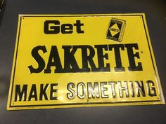 Original 1974 SAKRETE Concrete Store Display Sign embossed tin Make Something  | eBay