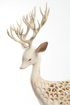 """Yoshimasa Tsuchiya 土屋仁応 - Megumi Ogita Gallery  Wooden foals, unicorns, mermaids - look almost like porcelain. """"In Japan, most of traditional buildings and sculptures are made of wood. Wood is a material which breath. It has own age, own viability. I studied these kind of traditional techniques in a graduate school of operative dentistry of cultural assets. I receive some inspirations from an old tale, a myth, a legend and my dream. The figure of my animals is a materializati"""