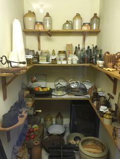 Victorian pantry larder at Holst's House in Cheltenham. Pantry Interior, Vintage Pantry, Victorian Rooms, Larder, Cottage Design, Built Ins, Interior Inspiration, Liquor Cabinet, Concerning Hobbits