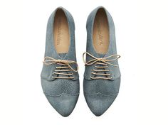 Denim blue, oxford shoes, Polly Jean, handmade, flats, leather shoes, by Tamar Shalem on etsy by TamarShalem on Etsy https://www.etsy.com/listing/223780850/denim-blue-oxford-shoes-polly-jean