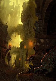city by sirfrancisdrake This is what I imagine Eberron's Sharn looks like in the lower levels.