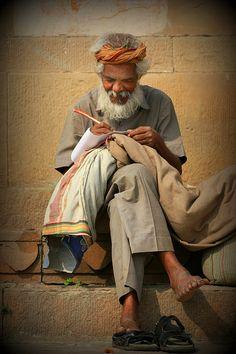 #Sewing man from #Varanasi, India by Amanda Stadther.  http://amanda-stadther.artistwebsites.com/