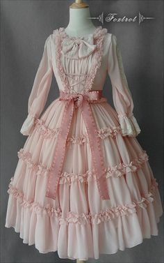 Cheap Lolita OP Dresses from Taobao Indie Brands Harajuku Fashion, Kawaii Fashion, Cute Fashion, Rock Fashion, Emo Fashion, Cute Dresses, Vintage Dresses, Beautiful Dresses, Vintage Outfits