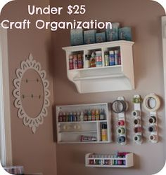 Craft organization - buy cheap shelving at Goodwill & spray paint!
