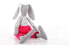 upcycled eco-friendly, Stuffed gray bunny rabbit doll wearing geometric blue retro shirt & neon hot pink corduroy - handmade fabric doll
