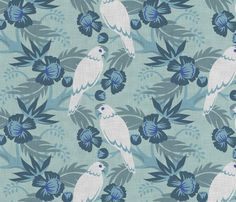 Art Deco Parrot White fabric by needlebook on Spoonflower - custom fabric