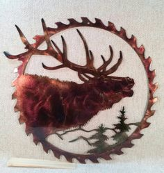 Excited to share this item from my #etsy shop: North American Elk Hunting & Fishing Lodge Sawblade Indoor or Outdoor Metal Wall Art
